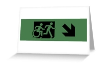 Accessible Means of Egress Icon Exit Sign Wheelchair Wheelie Running Man Symbol by Lee Wilson PWD Disability Emergency Evacuation Greeting Card 61