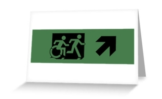 Accessible Means of Egress Icon Exit Sign Wheelchair Wheelie Running Man Symbol by Lee Wilson PWD Disability Emergency Evacuation Greeting Card 62