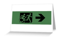 Accessible Means of Egress Icon Exit Sign Wheelchair Wheelie Running Man Symbol by Lee Wilson PWD Disability Emergency Evacuation Greeting Card 63