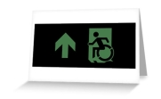 Accessible Means of Egress Icon Exit Sign Wheelchair Wheelie Running Man Symbol by Lee Wilson PWD Disability Emergency Evacuation Greeting Card 64