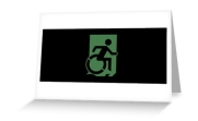 Accessible Means of Egress Icon Exit Sign Wheelchair Wheelie Running Man Symbol by Lee Wilson PWD Disability Emergency Evacuation Greeting Card 65