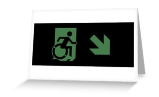 Accessible Means of Egress Icon Exit Sign Wheelchair Wheelie Running Man Symbol by Lee Wilson PWD Disability Emergency Evacuation Greeting Card 67