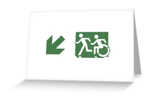 Accessible Means of Egress Icon Exit Sign Wheelchair Wheelie Running Man Symbol by Lee Wilson PWD Disability Emergency Evacuation Greeting Card 68