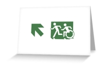 Accessible Means of Egress Icon Exit Sign Wheelchair Wheelie Running Man Symbol by Lee Wilson PWD Disability Emergency Evacuation Greeting Card 69