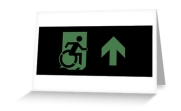 Accessible Means of Egress Icon Exit Sign Wheelchair Wheelie Running Man Symbol by Lee Wilson PWD Disability Emergency Evacuation Greeting Card 70