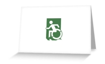 Accessible Means of Egress Icon Exit Sign Wheelchair Wheelie Running Man Symbol by Lee Wilson PWD Disability Emergency Evacuation Greeting Card 71