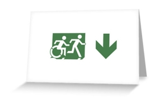 Accessible Means of Egress Icon Exit Sign Wheelchair Wheelie Running Man Symbol by Lee Wilson PWD Disability Emergency Evacuation Greeting Card 72