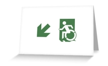Accessible Means of Egress Icon Exit Sign Wheelchair Wheelie Running Man Symbol by Lee Wilson PWD Disability Emergency Evacuation Greeting Card 74
