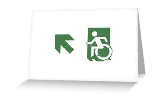 Accessible Means of Egress Icon Exit Sign Wheelchair Wheelie Running Man Symbol by Lee Wilson PWD Disability Emergency Evacuation Greeting Card 75
