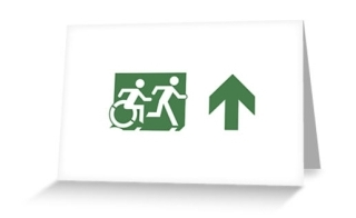 Accessible Means of Egress Icon Exit Sign Wheelchair Wheelie Running Man Symbol by Lee Wilson PWD Disability Emergency Evacuation Greeting Card 76