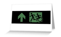 Accessible Means of Egress Icon Exit Sign Wheelchair Wheelie Running Man Symbol by Lee Wilson PWD Disability Emergency Evacuation Greeting Card 77