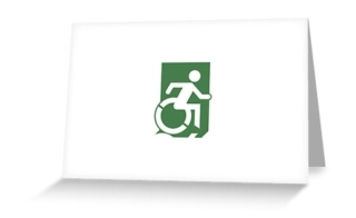 Accessible Means of Egress Icon Exit Sign Wheelchair Wheelie Running Man Symbol by Lee Wilson PWD Disability Emergency Evacuation Greeting Card 78