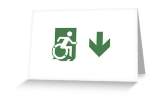 Accessible Means of Egress Icon Exit Sign Wheelchair Wheelie Running Man Symbol by Lee Wilson PWD Disability Emergency Evacuation Greeting Card 79