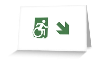Accessible Means of Egress Icon Exit Sign Wheelchair Wheelie Running Man Symbol by Lee Wilson PWD Disability Emergency Evacuation Greeting Card 80