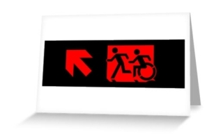 Accessible Means of Egress Icon Exit Sign Wheelchair Wheelie Running Man Symbol by Lee Wilson PWD Disability Emergency Evacuation Greeting Card 82
