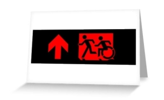 Accessible Means of Egress Icon Exit Sign Wheelchair Wheelie Running Man Symbol by Lee Wilson PWD Disability Emergency Evacuation Greeting Card 84