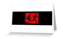Accessible Means of Egress Icon Exit Sign Wheelchair Wheelie Running Man Symbol by Lee Wilson PWD Disability Emergency Evacuation Greeting Card 85