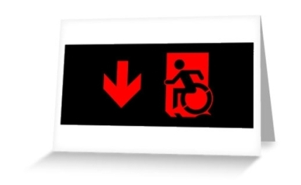Accessible Means of Egress Icon Exit Sign Wheelchair Wheelie Running Man Symbol by Lee Wilson PWD Disability Emergency Evacuation Greeting Card 86