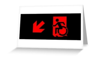 Accessible Means of Egress Icon Exit Sign Wheelchair Wheelie Running Man Symbol by Lee Wilson PWD Disability Emergency Evacuation Greeting Card 87
