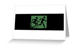 Accessible Means of Egress Icon Exit Sign Wheelchair Wheelie Running Man Symbol by Lee Wilson PWD Disability Emergency Evacuation Greeting Card 88