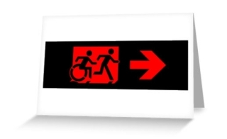 Accessible Means of Egress Icon Exit Sign Wheelchair Wheelie Running Man Symbol by Lee Wilson PWD Disability Emergency Evacuation Greeting Card 89