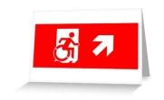 Accessible Means of Egress Icon Exit Sign Wheelchair Wheelie Running Man Symbol by Lee Wilson PWD Disability Emergency Evacuation Greeting Card 9