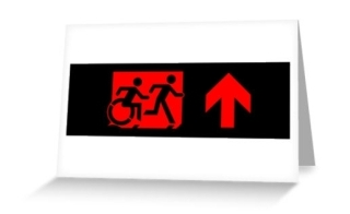 Accessible Means of Egress Icon Exit Sign Wheelchair Wheelie Running Man Symbol by Lee Wilson PWD Disability Emergency Evacuation Greeting Card 90