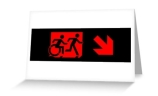 Accessible Means of Egress Icon Exit Sign Wheelchair Wheelie Running Man Symbol by Lee Wilson PWD Disability Emergency Evacuation Greeting Card 91