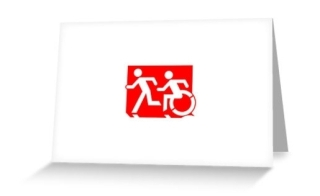 Accessible Means of Egress Icon Exit Sign Wheelchair Wheelie Running Man Symbol by Lee Wilson PWD Disability Emergency Evacuation Greeting Card 92