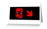 Accessible Means of Egress Icon Exit Sign Wheelchair Wheelie Running Man Symbol by Lee Wilson PWD Disability Emergency Evacuation Greeting Card 93