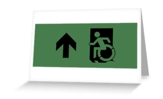 Accessible Means of Egress Icon Exit Sign Wheelchair Wheelie Running Man Symbol by Lee Wilson PWD Disability Emergency Evacuation Greeting Card 94