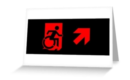 Accessible Means of Egress Icon Exit Sign Wheelchair Wheelie Running Man Symbol by Lee Wilson PWD Disability Emergency Evacuation Greeting Card 95