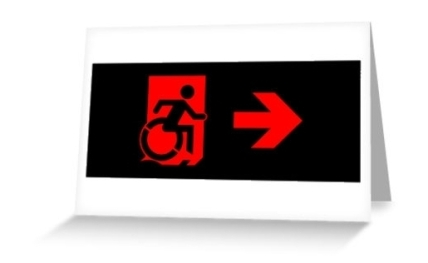 Accessible Means of Egress Icon Exit Sign Wheelchair Wheelie Running Man Symbol by Lee Wilson PWD Disability Emergency Evacuation Greeting Card 96