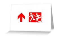 Accessible Means of Egress Icon Exit Sign Wheelchair Wheelie Running Man Symbol by Lee Wilson PWD Disability Emergency Evacuation Greeting Card 97