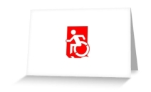 Accessible Means of Egress Icon Exit Sign Wheelchair Wheelie Running Man Symbol by Lee Wilson PWD Disability Emergency Evacuation Greeting Card 98