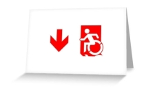 Accessible Means of Egress Icon Exit Sign Wheelchair Wheelie Running Man Symbol by Lee Wilson PWD Disability Emergency Evacuation Greeting Card 99