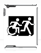 Accessible Means of Egress Icon Exit Sign Wheelchair Wheelie Running Man Symbol by Lee Wilson PWD Disability Emergency Evacuation iPad Case 100