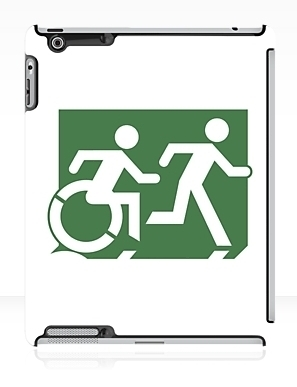 Accessible Means of Egress Icon Exit Sign Wheelchair Wheelie Running Man Symbol by Lee Wilson PWD Disability Emergency Evacuation iPad Case 101