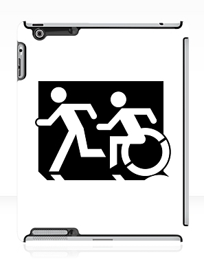Accessible Means of Egress Icon Exit Sign Wheelchair Wheelie Running Man Symbol by Lee Wilson PWD Disability Emergency Evacuation iPad Case 102