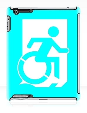 Accessible Means of Egress Icon Exit Sign Wheelchair Wheelie Running Man Symbol by Lee Wilson PWD Disability Emergency Evacuation iPad Case 103