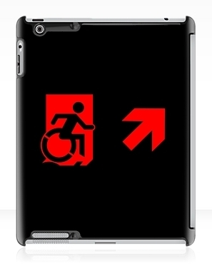 Accessible Means of Egress Icon Exit Sign Wheelchair Wheelie Running Man Symbol by Lee Wilson PWD Disability Emergency Evacuation iPad Case 105