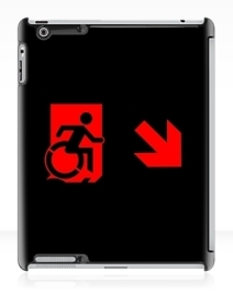 Accessible Means of Egress Icon Exit Sign Wheelchair Wheelie Running Man Symbol by Lee Wilson PWD Disability Emergency Evacuation iPad Case 106