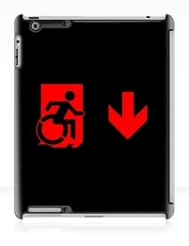 Accessible Means of Egress Icon Exit Sign Wheelchair Wheelie Running Man Symbol by Lee Wilson PWD Disability Emergency Evacuation iPad Case 107