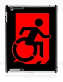 Accessible Means of Egress Icon Exit Sign Wheelchair Wheelie Running Man Symbol by Lee Wilson PWD Disability Emergency Evacuation iPad Case 108