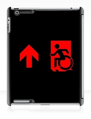 Accessible Means of Egress Icon Exit Sign Wheelchair Wheelie Running Man Symbol by Lee Wilson PWD Disability Emergency Evacuation iPad Case 109
