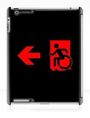Accessible Means of Egress Icon Exit Sign Wheelchair Wheelie Running Man Symbol by Lee Wilson PWD Disability Emergency Evacuation iPad Case 110