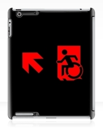 Accessible Means of Egress Icon Exit Sign Wheelchair Wheelie Running Man Symbol by Lee Wilson PWD Disability Emergency Evacuation iPad Case 111