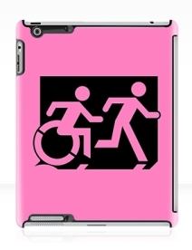 Accessible Means of Egress Icon Exit Sign Wheelchair Wheelie Running Man Symbol by Lee Wilson PWD Disability Emergency Evacuation iPad Case 11