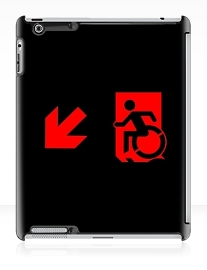 Accessible Means of Egress Icon Exit Sign Wheelchair Wheelie Running Man Symbol by Lee Wilson PWD Disability Emergency Evacuation iPad Case 112
