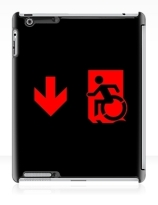 Accessible Means of Egress Icon Exit Sign Wheelchair Wheelie Running Man Symbol by Lee Wilson PWD Disability Emergency Evacuation iPad Case 113
